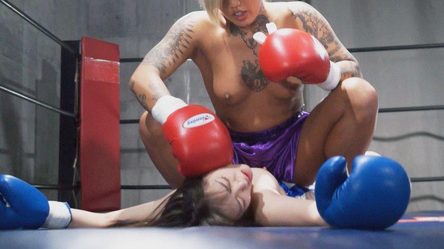 現役プロ女子格闘家鮫島るい(YUNI)に巨乳揺れ人間サンドバックにされる桃尻かのんのボクシングドミネーションファイト!