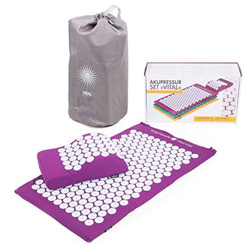 VITAL Akupressurmatten-Set (aubergine): Akupressurmatte (74 x 44cm) & Akupressurkissen im praktischen Set, vitalisierende Matte für den Rücken und Kissen für den Nacken