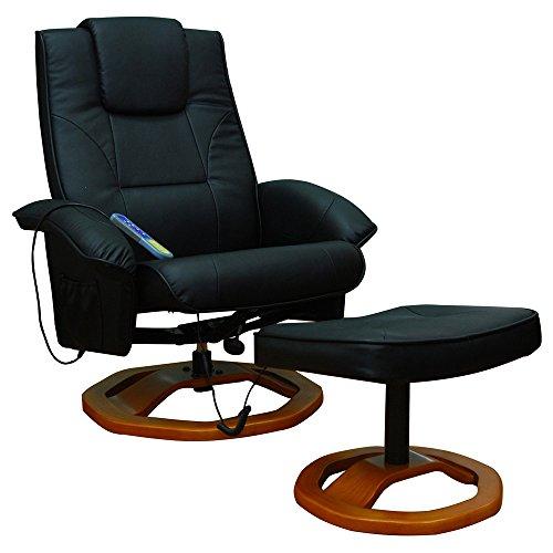 vidaXL Massagesessel Fernsehsessel Hocker Relaxsessel Massage+Heizung SCHWARZ