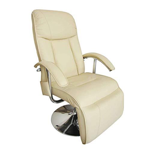 vidaXL Massagesessel Creme Fernsehsessel Relaxsessel Massage Heizung TV Sessel