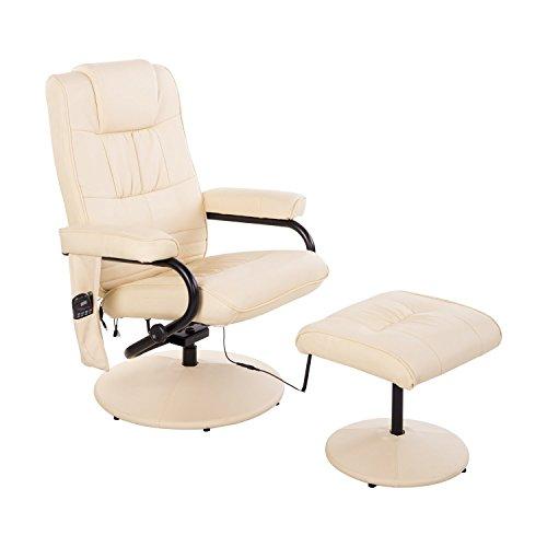 HOMCOM Kunstleder Massagesessel Relaxsessel Fernsehsessel TV Sessel mit Wärmefunktion inkl. Hocker Creme