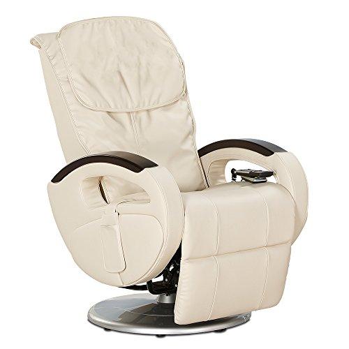 aktivshop Massagesessel mit Shiatsu-Massage, drehbarer Fernsehsessel mit Vibrationsmassage, elektrisch verstellbar, echt wirkendes Kunstleder, bis 180 kg belastbar, 5 Massagearten