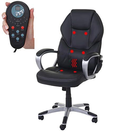 Mendler Massage-Bürostuhl HWC-A69, Drehstuhl Chefsessel, Heizfunktion Massagefunktion Kunstleder ~ schwarz