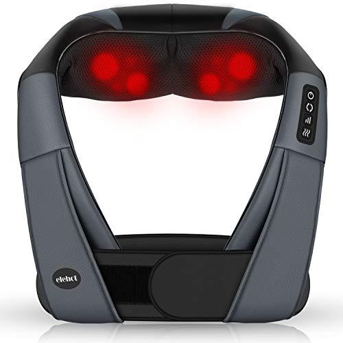 Massagegeräte Elektrisch 4D Nackenmassagegerät mit Wärmefunktion für shiatsu Schulter Fuß Rücken 3 Geschwindigkeit 1.2m Kfz Ladekabel von ELEHOT