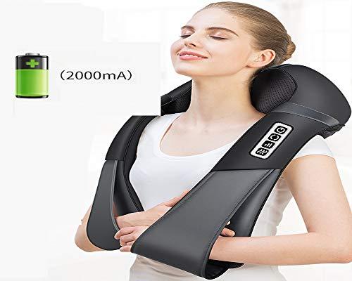 HGBKJUO Massagegeräte Elektrisch 4D Nackenmassagegerät mit Wärmefunktion Schulter Massagegerät Shiatsu Massagegerät Einstellbaren Geschwindigkeiten für Haus Büro Auto,Wirelesscharging