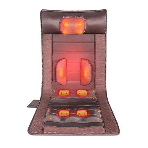 D&F Massagematte Massageauflage - mit 15 Vibrationsmotoren Shiatsu Massage Nacken Multifunktionales Kneten für Ganzen Körper,inkl Heizung und Rotlichtfunktion
