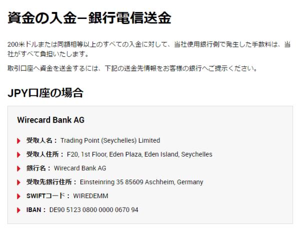1.日本の銀行口座から、海外FX業者の指定の銀行口座に入金する