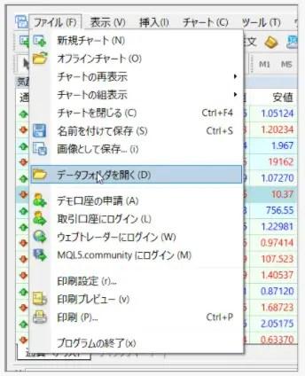 3.MT4データフォルダに保存