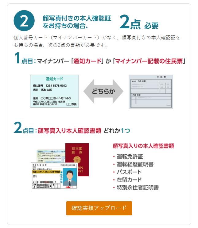 マイナンバー通知カードと写真入り本人確認書類の場合
