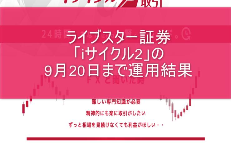 ライブスター証券「iサイクル2」の9月20日まで運用結果