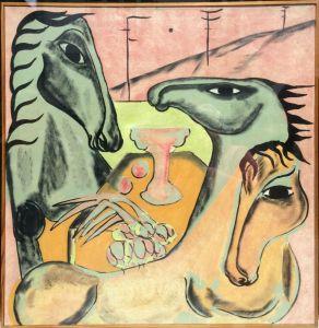 Vibeke Alfeldt - Heste i Rosa Lys - risom