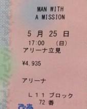 チケットの表記 オールスタンディング
