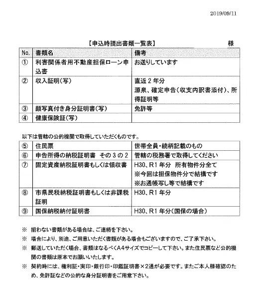 【個人向け】申込時提出書類一覧表