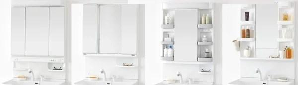 シャンピーヌはミラーキャビネットも三面鏡と一面鏡からチョイスが可能!