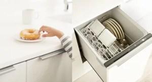 「リシェルPLAT」は食器洗い機も扉の一部とするので目立ちません