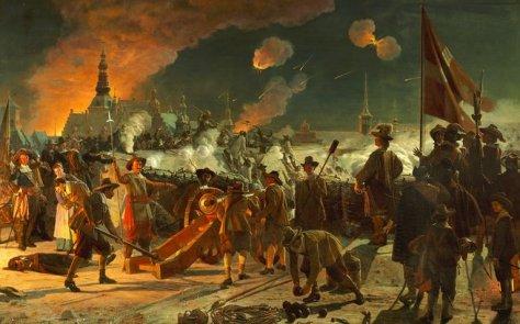 Maleri af F. C. Lund fra 1880 af Stormen på København 1659