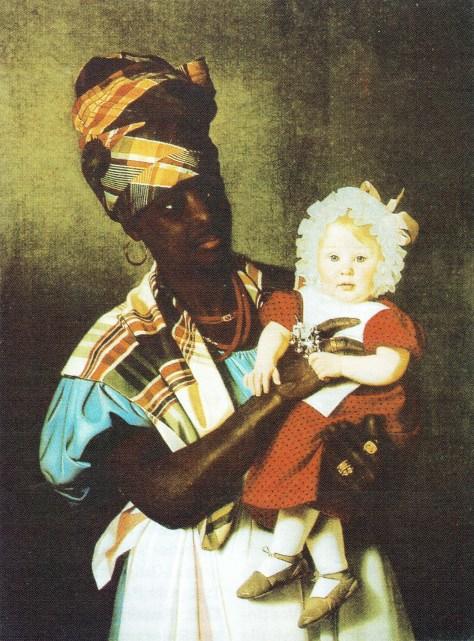 """Maleri af N. P. Holbech: """"Lille Marie på Nekys arm."""", 1838"""