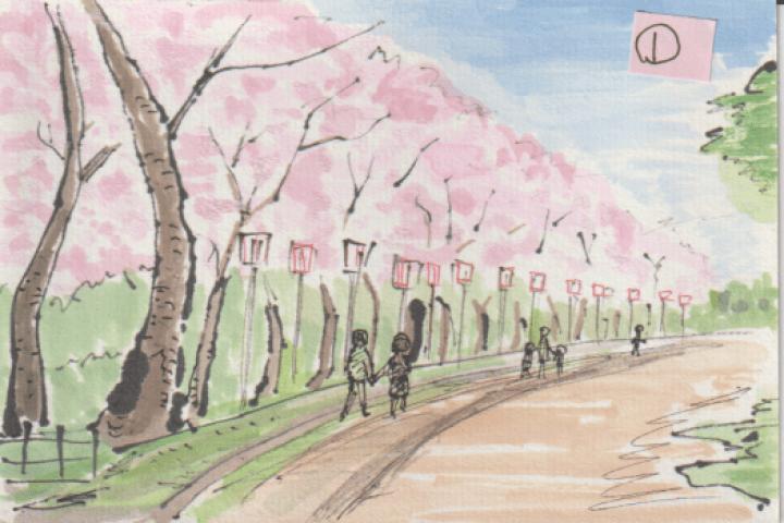 桜並木と人物の絵ー1