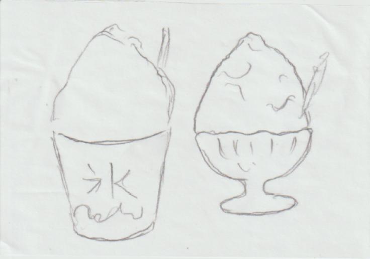 絵手紙・カキ氷の絵ー1