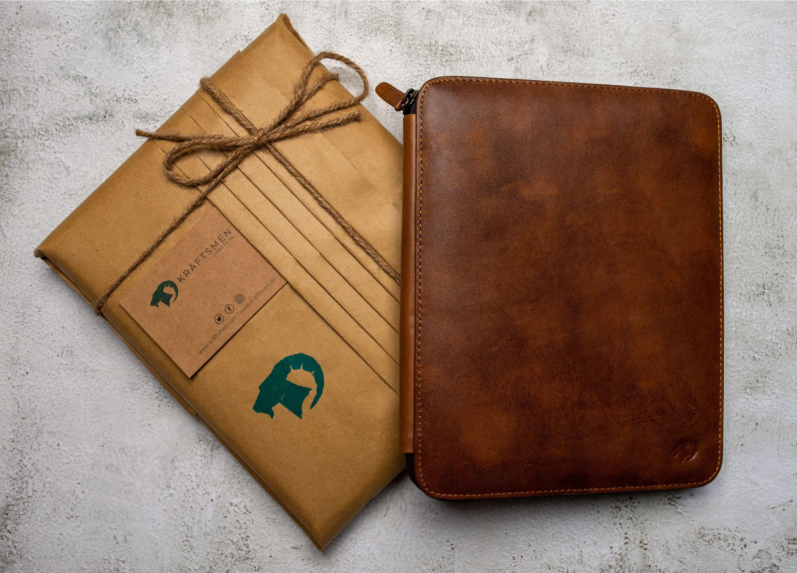 Leather Portfolio with craft packaging by Kraftsmen