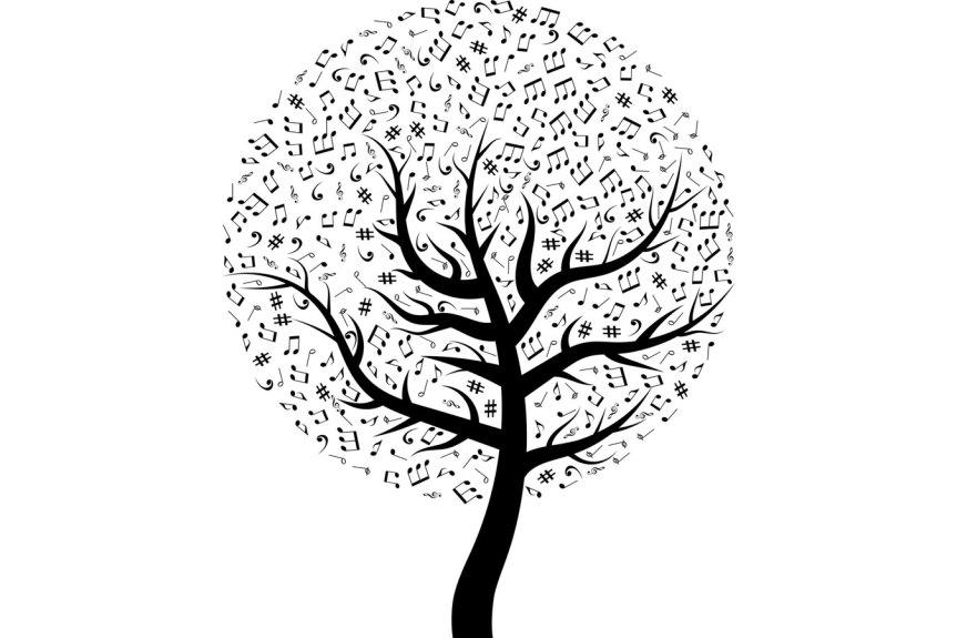 Baum mit Noten statt Blättern