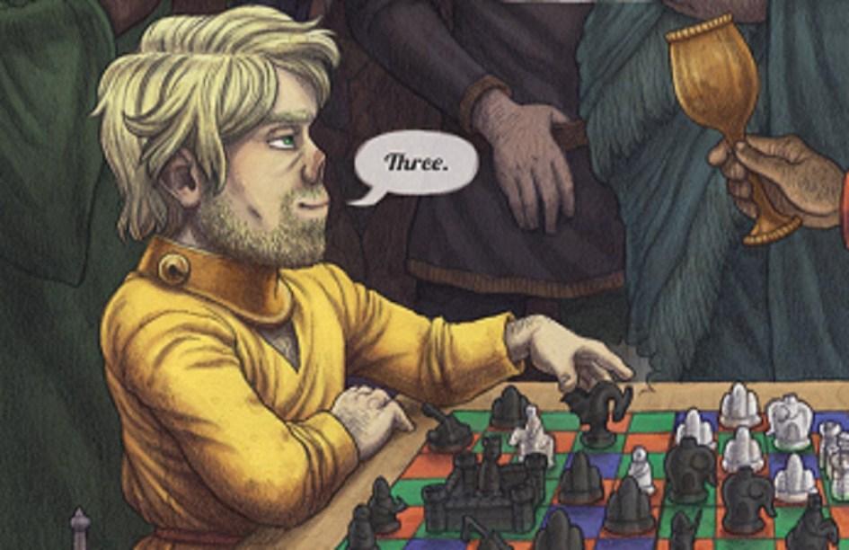 Ilustración de Tyrion Lannister jugando al sitrang