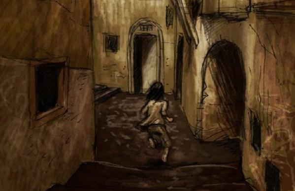 Dibujo de Arya Stark corriendo por las calles de Braavos