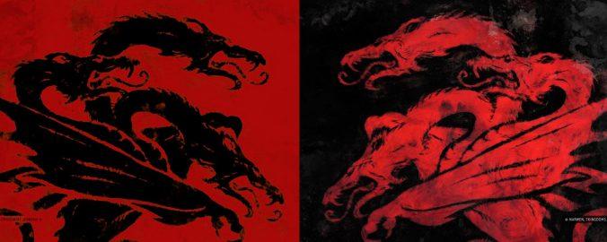 Rebelión Fuegoscuro, emblema Targaryen frente a emblema Fuegoscuro