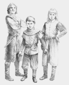 Aegon Targaryen, Daeron Targaryen y Aemond Targaryen, hijos de Alicent Hightower