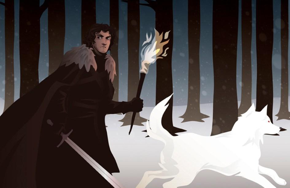 Jon Nieve con espada y antorcha junto a Fantasma
