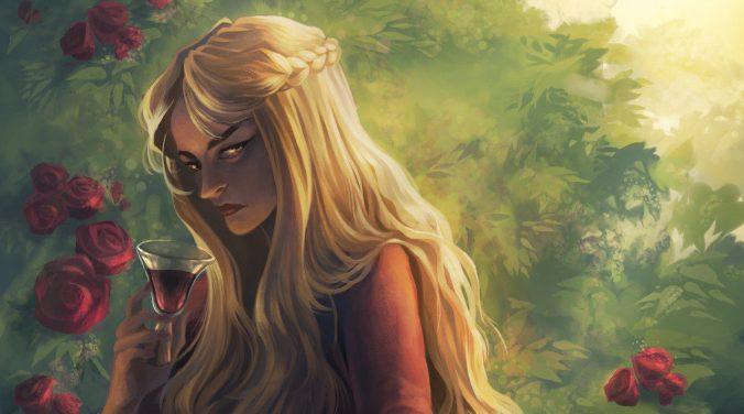 Ilustración de Cersei Lannister bebiendo vino