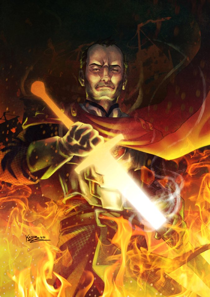 Ilustración de Stannis Baratheon como Azor Ahai