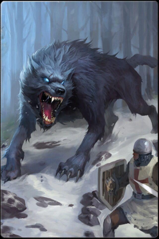 Ilustración de un lobo huargo