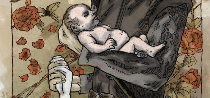 Ned Stark con el bebé Jon Nieve junto a Lyanna Stark