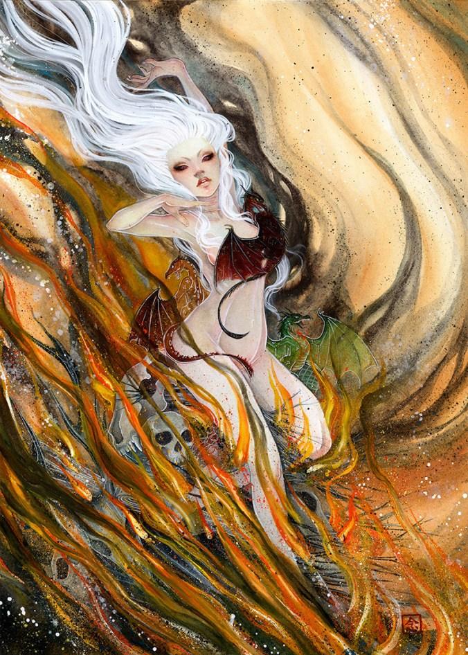 Daenerys Targaryen en la pira de fuego durante el nacimiento de los dragones