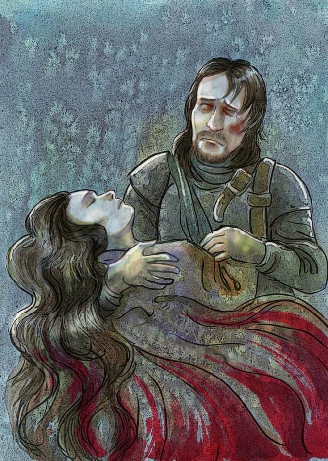 Ned con Lyanna en su lecho de muerte