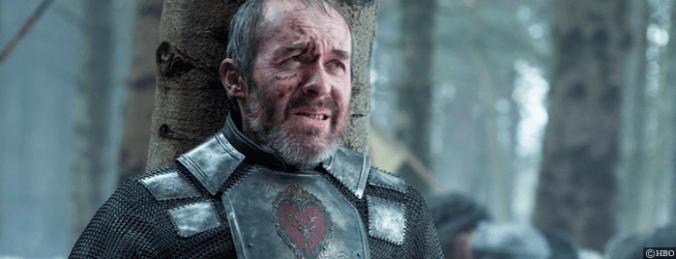 Stephen Dillaen como Stannis Baratheon en la escena de su muerte en Game of Thrones, HBO