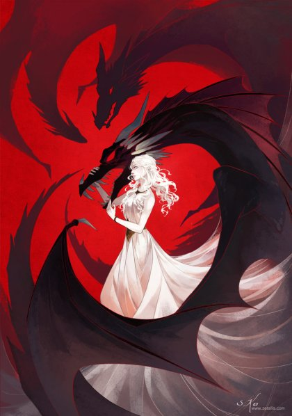 Daenerys Targaryen con sus dragones