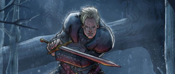 Ilustración de Brienne de Tarth con Guardajuramentos