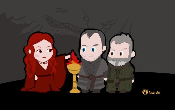 Stannis, Melisandre y Davos