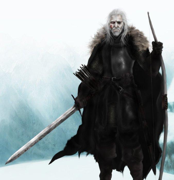 Lord Comandante de la Guardia de la Noche Brynden Rios (Cuervo de Sangre) portando Hermana Oscura