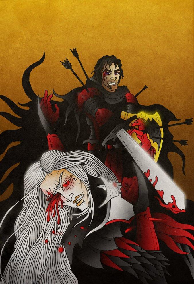 Aegor Ríos (Aceroamargo) le saca un ojo a Brynden Ríos (Cuervo de Sangre)