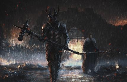 Robert Baratheon y Ned Stark en el asedio de Pyke durante la Rebelión Greyjoy
