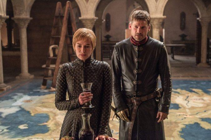 Lena Headey como Cersei Lannister y Nikolaj Coster-Waldau como Jaime Lannister en la séptima temporada de Juego de Tronos