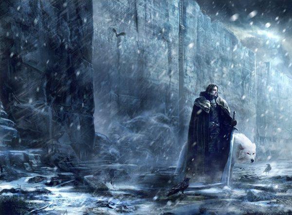 Jon Nieve, Lord Comandante de la Guardia de la Noche, con Fantasma