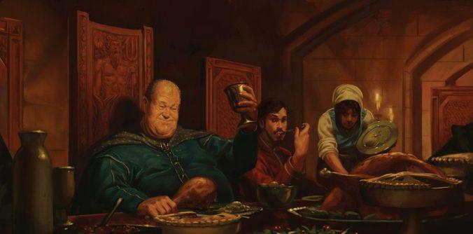 Wyman Manderly en el banquete con los Frey