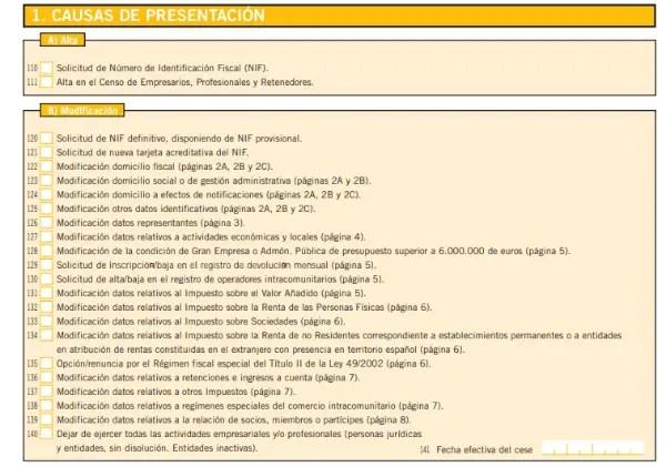 modelo 36 causas de presentacion