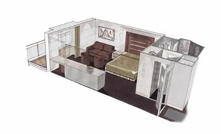 「MSCベリッシマ」クルーズ船の部屋