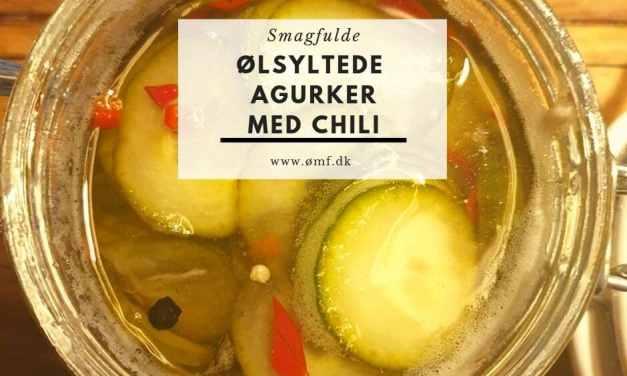 Ølsyltede agurker med chili