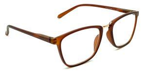 Brune, transparente og billige læsebriller med guld bro